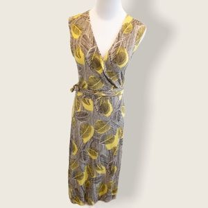 Club Monaco Yellow and Brown Leaf Print Wrap Dress